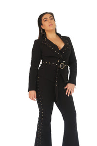 Black Fitted Jacket With Gold Studded Detail