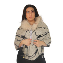 Load image into Gallery viewer, Knitted Cape with Fur Collar