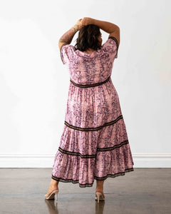 Venice Maxi Dress - Pink Snakeprint with Black Lace Trim