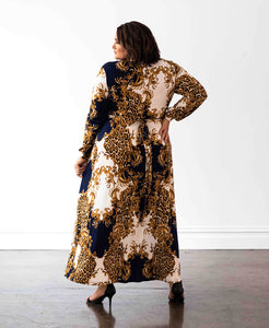 Baroque Print Wrap Dress