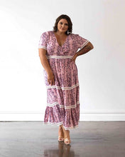 Load image into Gallery viewer, Venice Maxi Dress - Pink Snakeprint with White Lace Trim