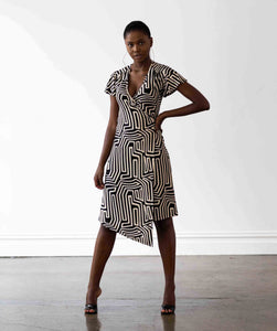 Hollywood Wrap Dress - Maze Print