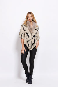 Knitted Cape with Fur Collar