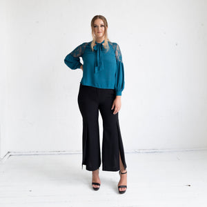 Geranium Lace Shoulder Blouse - Teal