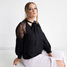 Load image into Gallery viewer, Geranium Lace Shoulder Blouse - Black