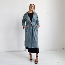 Load image into Gallery viewer, Viola Suede Coat - Blue Grey