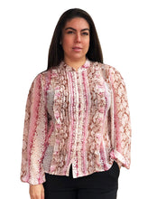 Load image into Gallery viewer, Primrose Pleated Blouse - Pink Snake Print