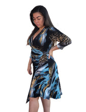 Load image into Gallery viewer, Taylor Wrap Dress - Cosmic Leopard
