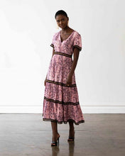 Load image into Gallery viewer, Venice Maxi Dress - Pink Snakeprint with Black Lace Trim