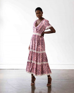 Venice Maxi Dress - Pink Snakeprint with White Lace Trim