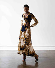 Load image into Gallery viewer, Baroque Print Wrap Dress