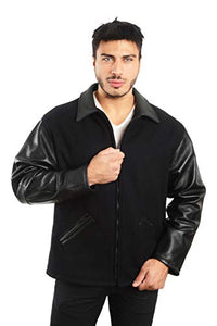REED Men's Premium Straight Bottom Leather Wool Jacket Made in USA