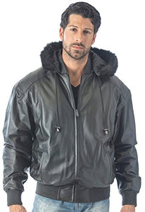 REED Men's Detachable Hooded Faux Fur Leather Bomber Jacket with Baseball Style Collar