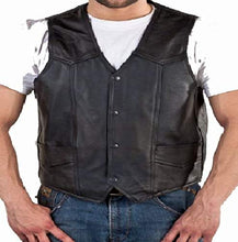 Cargar imagen en el visor de la galería, REED Men's Soft Durable Leather Vest Black, 2 Inside Pockets