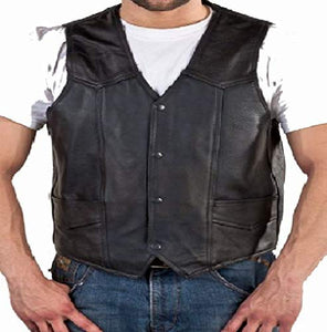 REED Men's Soft Durable Leather Vest Black, 2 Inside Pockets