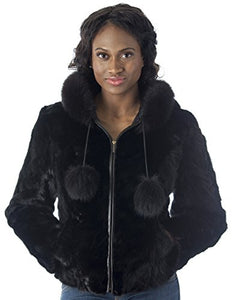 REED Women's Genuine Mink Fur Bomber Jacket -100% Real Fur