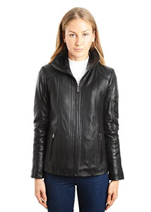REED EST. 1950 Women's Jacket Genuine Lambskin Leather Stand UP Collar Winners Coat