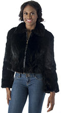 Load image into Gallery viewer, REED Women's Genuine Mink Fur Bomber Jacket -100% Real Fur (Small, Black)