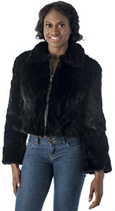 REED Women's Genuine Mink Fur Bomber Jacket -100% Real Fur (Small, Black)