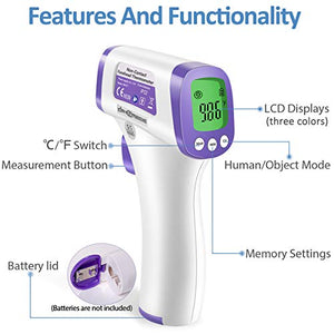 Heavy Duty Thermometer Infrared Forehead High Caliber Sensor No Contact with LCD Display for Medical Offices, Hospitals