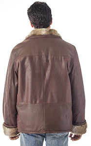 REED Men's Zip Up Collar Sheep Skin Leather Shearling Style Coat