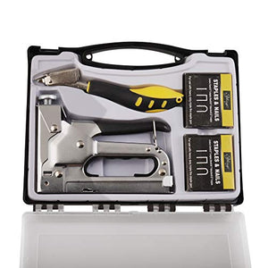 eZthings Staple Gun Professional Stapler Tool Set - 3 in 1 Heavy Duty kit with 2400 Staples, Nail Steel for Wood Work, Upholstery, Decoration, Carpentry, Furniture, Walls, Roofing (Stapler Gun Kit)