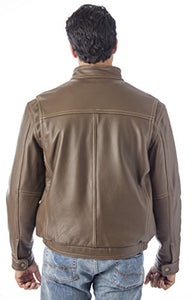 REED Men's Contemporary Stand Up Collar Leather Jacket