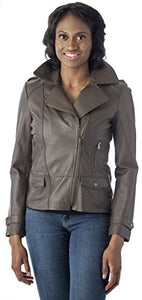 REED Women's Rugged Distressed Leather Jacket Vintage Style