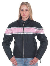 Load image into Gallery viewer, REED Ladies Leather Racer Motorcycle Jacket with Pink Stripe & Double Silver Stripes