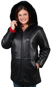 "REED Women's 33"" Parka with Fox Trimmed Detachable Hood Leather Jacket"