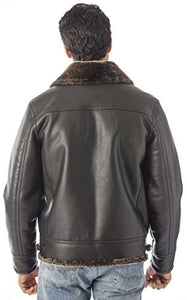 REED Men's B-3 Bomber Jacket Shearling Style Coat