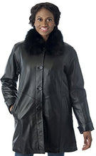 Load image into Gallery viewer, REED Women's Imported Lamb Leather Swing Coat with Real Fox Fur Collar