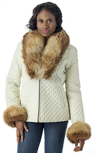REED Women's Genuine Fox Fur Trim Leather Jackets