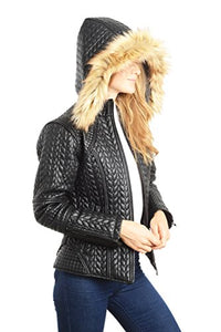 REED Women's Designer Coat with Zip Out Hooded Faux Fur Leather Jacket