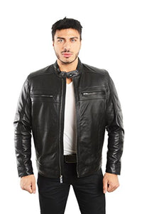 REED EST. 1950 Men's Genuine Lambskin Leather Biker Jacket