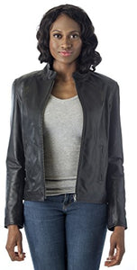 REED Women's Moto Leather Fashion Jacket - Genuine Leather Coat