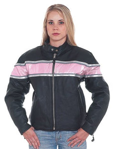 REED Ladies Leather Racer Motorcycle Jacket with Pink Stripe & Double Silver Stripes