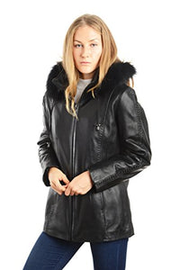 "REED Women's 28"" Fox Trimmed Detachable Hood & Braided Leather Trim"