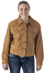 REED Women's Western Jean Shirt Style Suede Leather Jacket