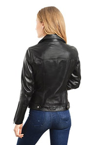 REED EST. 1950 Women's Jacket Genuine Lambskin Leather Biker Fashion Coat