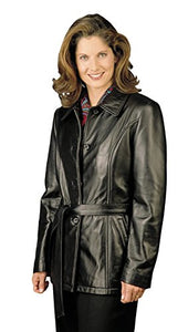 REED Women's Lambskin Leather Jacket with Belt