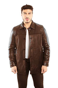 REED EST. 1950 Men's Jacket Genuine Lambskin Leather Four Button Car Coat