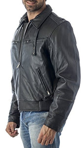 REED Men's Vented Leather Motorcycle Jacket with Biker Neck Warmer - Imported