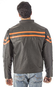 REED Men's Vented Motorcycle Leather Jacket (Imported)
