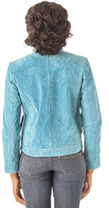 REED Women's 22'' Misses Fit Stand Up Collar Leather Jacket
