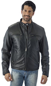 REED Men's Knock Around Biker Jacket in Imported Naked Cow with Zip Out Lining