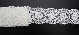 eZthings Cotton Lace Embroidery Wedding Fabric Trim for DIY Decorating, Floral Designing and Crafts