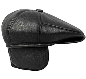 Flat Cabbie Men's Classic Newsboy Flat Cap Hat with Ear Flaps