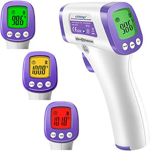 eZthings Heavy Duty LCD Display Non-Contact Infrared Forehead Thermometer for Medical Offices, Hospitals (White, Heavy Duty)