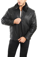 Load image into Gallery viewer, REED Men's Smooth Lamb Touch Faux Leather Detachable Fur Collar Classic Jacket